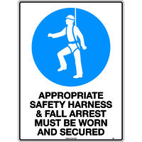 Signs Indicate That 'Appropriate Safety Harness and Fall Arrest Must be Worn and Secured'