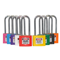 Brass Lockout Padlock with Coloured Sleeve and 2 keys per lock